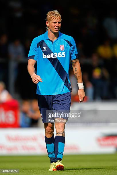 Brek Shea of Stoke in action during the Pre Season Friendly match between Burton Albion and Stoke City at the Pirelli Stadium on August 2 2014 in...