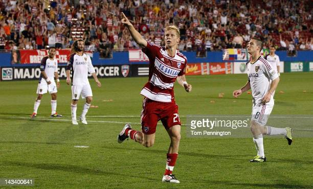 Brek Shea of the FC Dallas celebrates after scoring a goal on a penalty kick against Real Salt Lake at FC Dallas Stadium on April 25 2012 in Frisco...