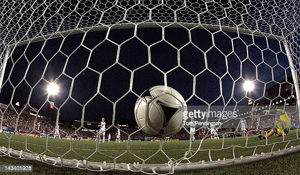 Brek Shea of the FC Dallas scores a goal on a penalty kick against goal keeper Nick Rimando of the Real Salt Lake at FC Dallas Stadium on April 25...