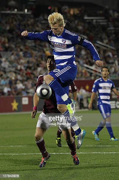 Brek Shea of the FC Dallas strikes the ball against the Colorado Rapids at Dick's Sporting Goods Park on October 1 2011 in Commerce City Colorado The...