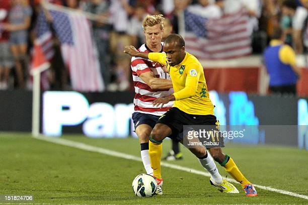 Brek Shea of the US National Team defends against Dane Richards of the Jamaican National Team in the second half on September 11 2012 at Crew Stadium...