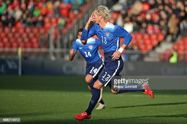 Brek Shea of the USA celebrates his scored goal during the international friendly match between Switzerland and the United States at Stadium...