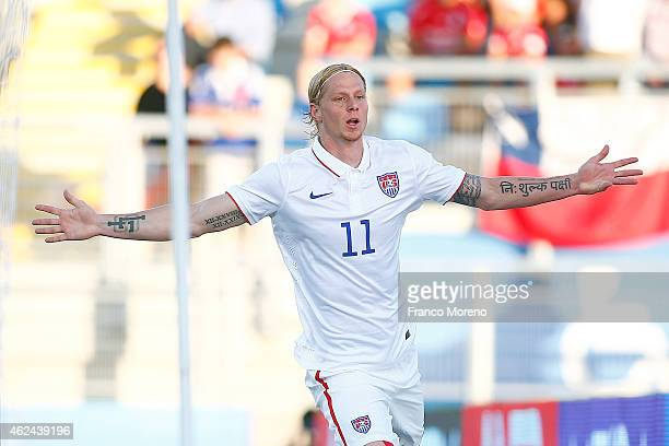 Brek Shea of USA celebrates after scoring the first goal of his team during an international friendly match between Chile and USA at El Teniente...