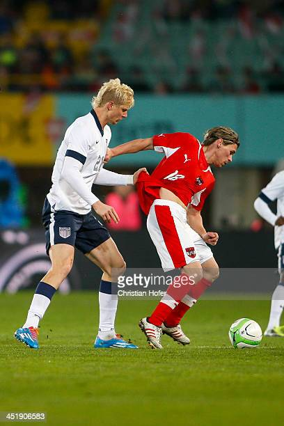Brek Shea of USA competes for the ball with Christoph Leitgeb of Austria during the International friendly match between Austria and USA at the...
