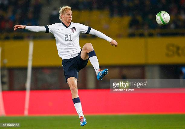 Brek Shea of USA controls the ball during the International friendly match between Austria and USA at the ErnstHappel Stadium on November 19 2013 in...