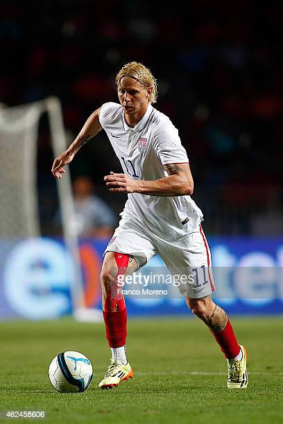 Brek Shea of USA during a friendly match between Chile and USA at El Teniente Stadium on January 28 2015 in Santiago Chile