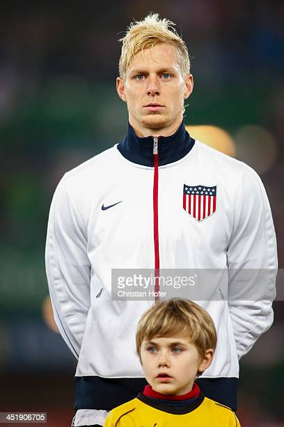 Brek Shea of USA stands during the national anthem prior to the International friendly match between Austria and USA at the ErnstHappel Stadium on...