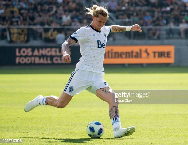 Brek Shea of Vancouver Whitecaps during Los Angeles FC's MLS match against Vancouver Whitecaps FC at the Banc of California Stadium on October 21...