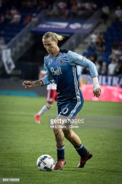 Brek Shea of Vancouver Whitecaps FC drives to the goal during the MLS match between New York Red Bulls and Vancouver Whitecaps FC at the Red Bull...