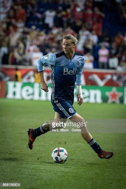 Brek Shea of Vancouver Whitecaps FC keeps control of the ball during the MLS match between New York Red Bulls and Vancouver Whitecaps FC at the Red...