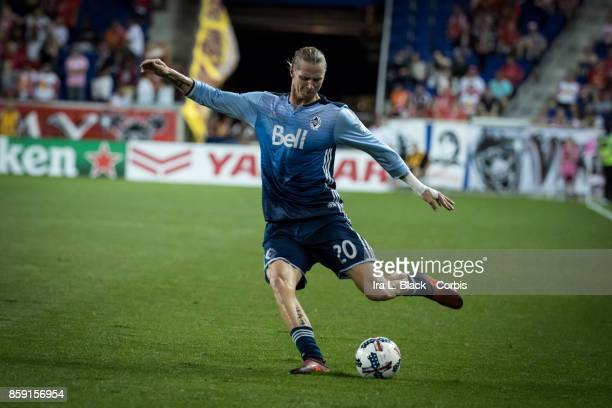 Brek Shea of Vancouver Whitecaps FC takes the shot on goal during the MLS match between New York Red Bulls and Vancouver Whitecaps FC at the Red Bull...