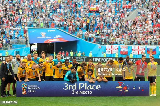 Brelgium players celebrate after their 20 victory in the FIFA 2018 World Cup Russia Playoff for third place match between Belgium and England at the...