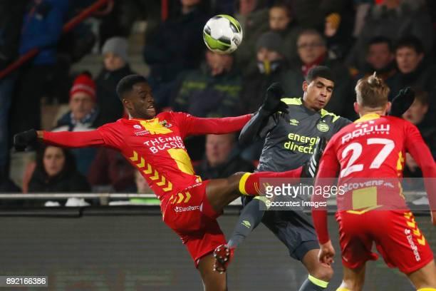 Brem Soumaoro of Go Ahead Eagles Laros Duarte of PSV U23 during the Dutch Jupiler League match between Go Ahead Eagles v PSV U23 at the De...