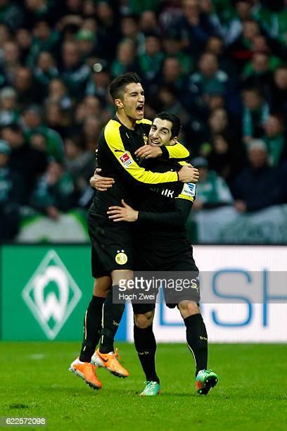 Bremen 8 Februar 2014 Fußball 1 Bundesliga 2013/14 SV Werder Bremen Borussia Dortmund Nuri Sahin und Henrikh Mkhitaryan jubeln // © ximgs wwwximgs...