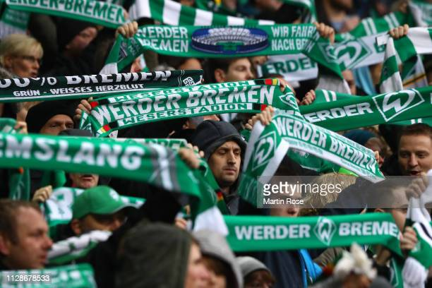 Bremen supporters celebrate prior to the Bundesliga match between SV Werder Bremen and FC Augsburg at Weserstadion on February 10 2019 in Bremen...