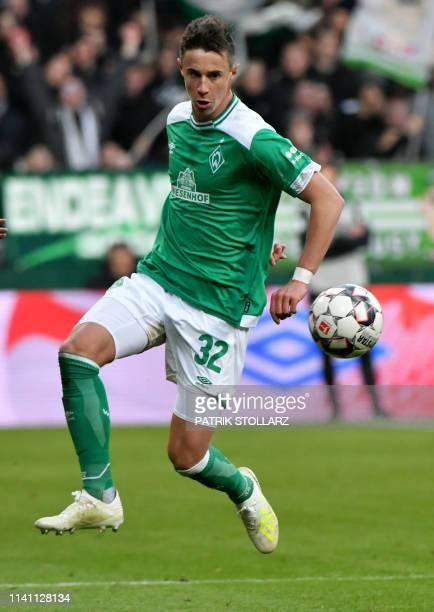 Bremen's Austrian defenfer Marco Friedl plays the ball during the German first division Bundesliga football match Werder Bremen v BVB Borussia...