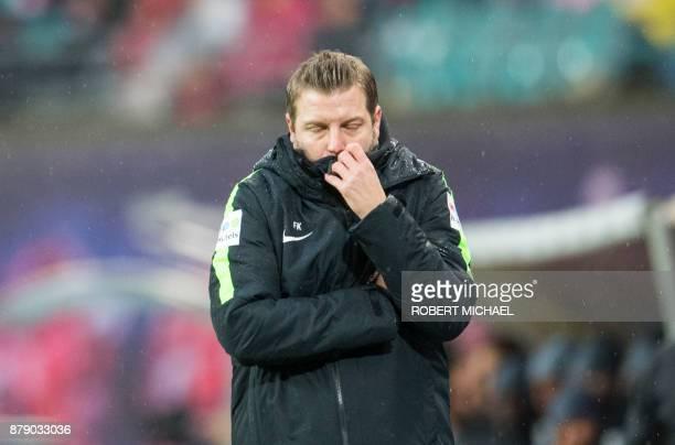 Bremen´s Bremen´s head coach Florian Kohfeldt reacts during the German first division Bundesliga football match between RB Leipzig and Werder Bremen...