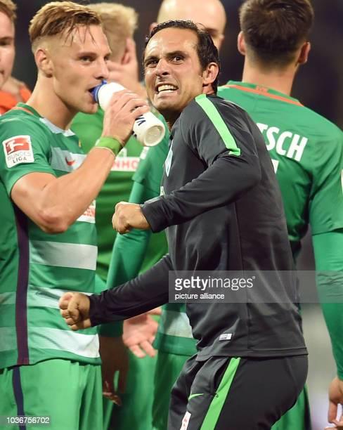 Bremen's coach Alexander Nouri celebrating the victory after the German Bundesliga soccer match between Werder Bremen and VfL Wolfsburg in the...