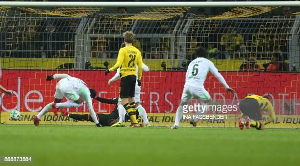 Bremen's Czech defender Theodor Gebre Selassie scores the 12 during the German first division Bundesliga football match of Borussia Dortmund vs SV...