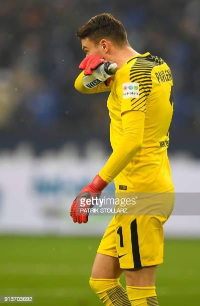 Bremen's Czech goalkeeper Jiri Pavlenka reacts during the German first division Bundesliga football match Schalke 04 versus Werder Bremen on February...