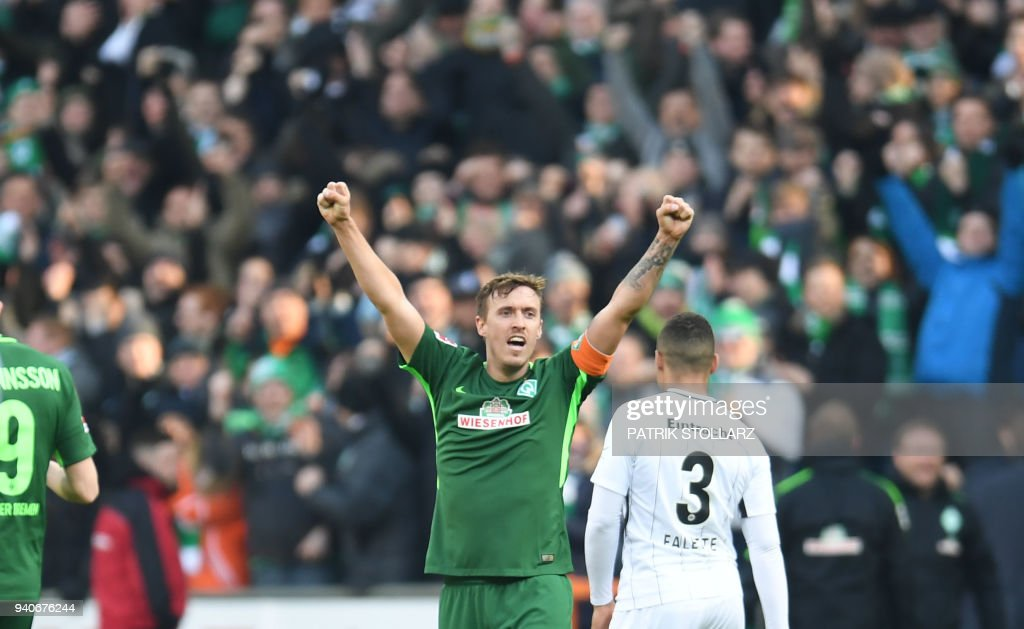 Bremen's German forward Max Kruse reacts during the German first division Bundesliga football match Werder Bremen vs Eintracht Frankfurt, in Bremen, northern Germany, on April 1, 2018. / AFP PHOTO / Patrik