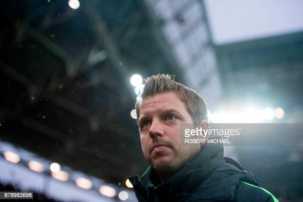 Bremen´s head coach Florian Kohfeldt looks on prior to the German first division Bundesliga football match between RB Leipzig and Werder Bremen in...