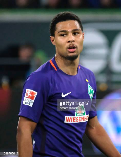 Bremen's Serge Gnabry after giving his side a 10 lead during the German Bundesliga soccer match between VfL Wolfsburg and Werder Bremen in the...