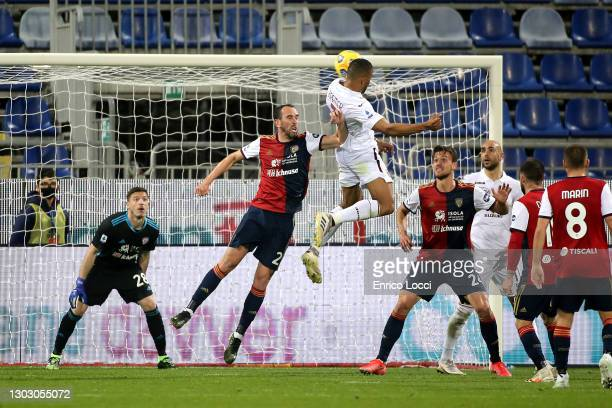 Bremer of Torino scores his goal of 0-1during the Serie A match between Cagliari Calcio and Torino FC at Sardegna Arena on February 19, 2021 in...