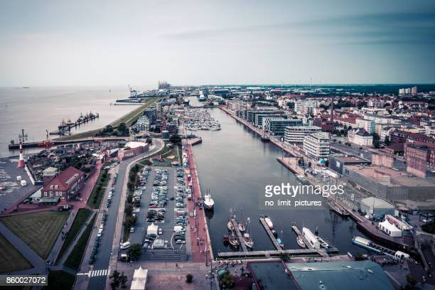 Bremerhaven areal view over harbor