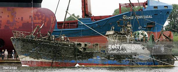 """The fishing boat """"Hohe Weg"""" which sunk in the North Sea near the German Harbour town of Bremen 08 November 2006 was raised and brought in to Bremen..."""