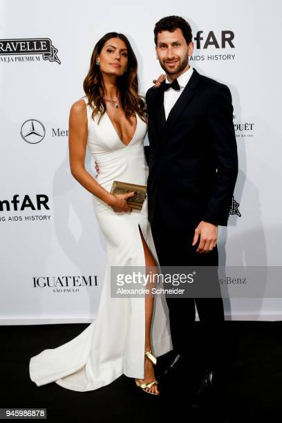 Brena Costa and Karim AlFayed attend during the 2018 amfAR Gala Sao Paulo at the home of Dinho Diniz on April 13 2018 in Sao Paulo Brazil