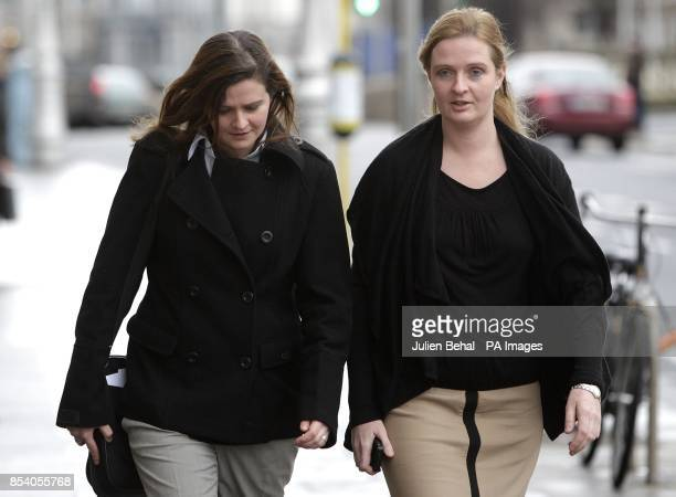 Brenda and Ciara Quinn daughters of bankrupt businessman Sean Quinn arrive at the Commercial Court in Dublin to be crossexamined over the...