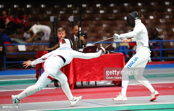 Brenda Briasco of Italy fences Anna Mroszczak of Poland during competition at the Women's Epee World Cup on January 20 2018 at the Coliseo de la...