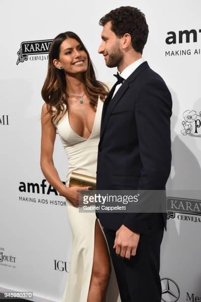 Brenda Costa and Karim AlFayed attend the 2018 amfAR gala Sao Paulo at the home of Dinho Diniz on April 13 2018 in Sao Paulo Brazil