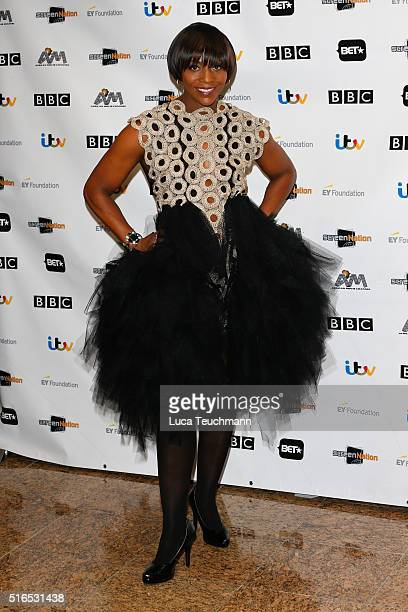 Brenda Emmanus attends the annual Screen Nation Film & Television Awards Hilton London Metropole on March 19, 2016 in London, England.