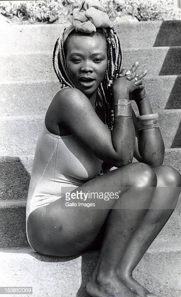 Brenda Fassie posing for the camera in her swimsuit on October 4 1987
