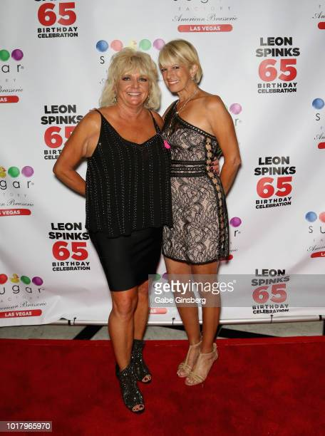 Brenda GlurSpinks and Denise Baker LaMotta attend a birthday celebration for Leon Spinks' at the Chocolate Lounge at Sugar Factory American Brasserie...