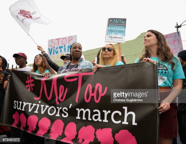 Brenda Gutierrez Frances Fisher and Tarana Burke seen at Take Back The Workplace March And #MeToo Survivors March Rally on November 12 2017 in...