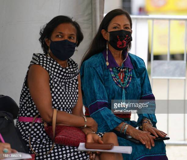 Brenda Mallory, Chair of the Council on Environmental Quality and Secretary of the Interior Deb Haaland attend an event commemorating the delivery of...