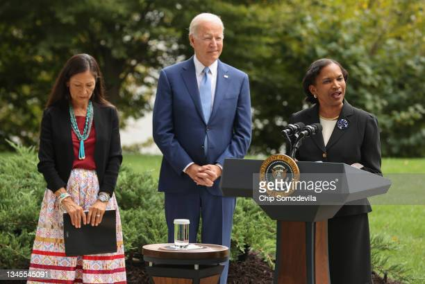 Brenda Mallory , Chair of the Council on Environmental Quality, delivers remarks alongside U.S. President Joe Biden and Secretary of the Interior Deb...