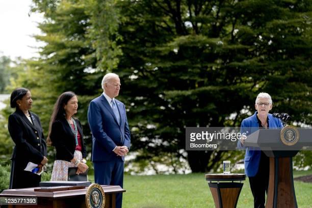 Brenda Mallory, chair of the Council on Environmental Quality, from left, Deb Haaland, U.S. Secretary of the interior, and U.S. President Joe Biden...