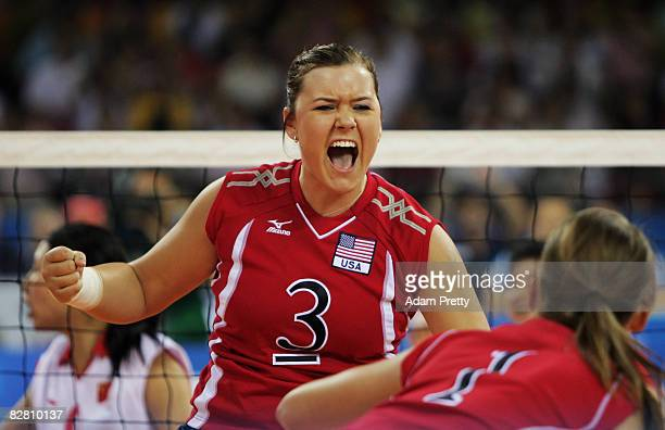 Brenda Maymon of USA celebrates a point during the Sitting Volleyball match between China and USA at the China Agricultural University Gymnasium...