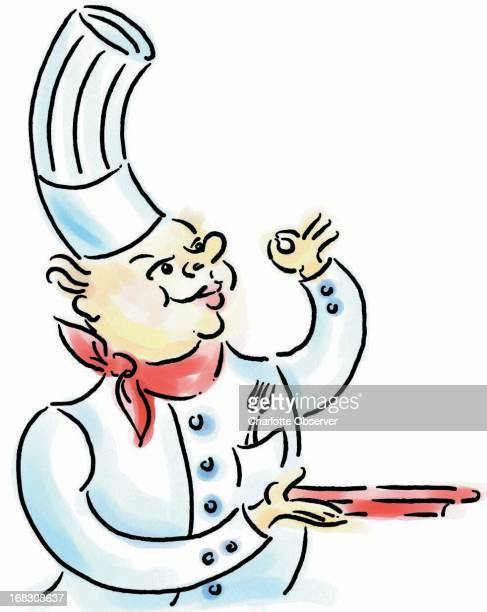 Brenda Pinnell color illustration of chef holding a tray