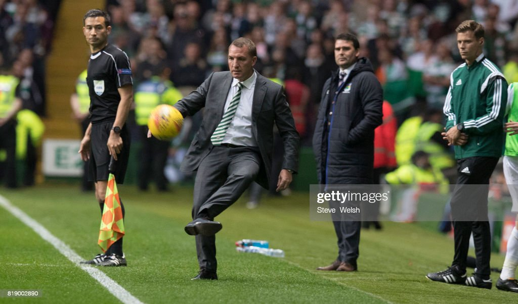 Brenda Rodgers Manager of Celtic trys to bring the ball under control to the delight of the Celtic fans during the UEFA Champions League Qualifying Second Round,Second Leg match between Celtic and Linfield at Celtic Park Stadium on July 19, 2017 in Glasgow, Scotland.