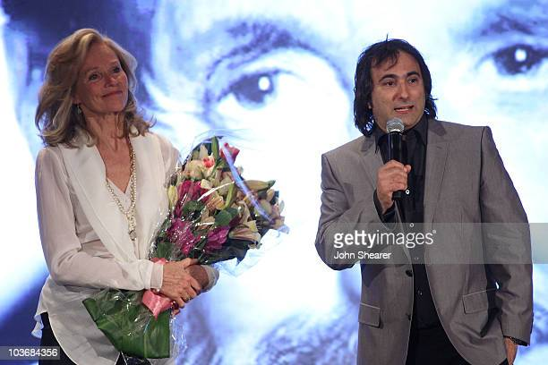 Brenda Siemer-Scheider and Director Joshua Newton speak at Smiles from the Stars: A Tribute to the Life and Work of Roy Scheider at The Beverly Hills...