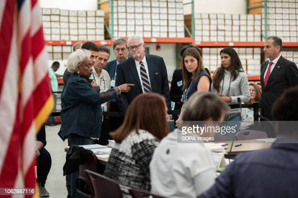Brenda Snipes, supervisor of elections seen speaking with the democratic and republican lawyers during the hand recount for the senator, in Broward...