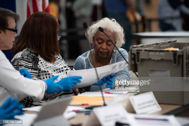 Brenda Snipes, the Supervisor of Elections seen looking through the ballots papers during the hand recount for the senator, in Broward County,...