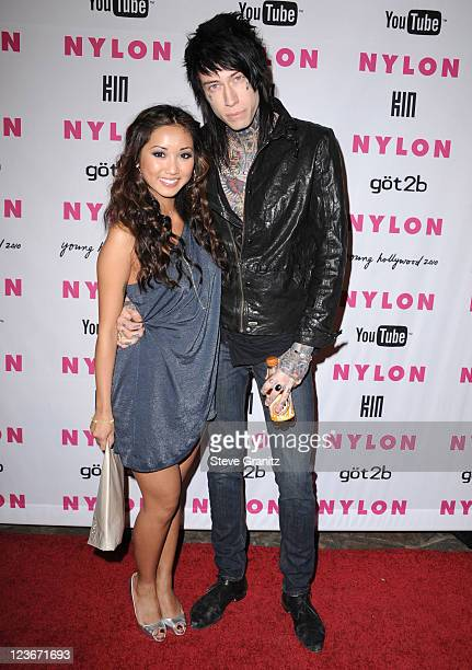 Brenda Song and Trace Cyrus attends Nylon Magazine's Young Hollywood Party at Tropicana Bar at The Hollywood Rooselvelt Hotel on May 12, 2010 in...