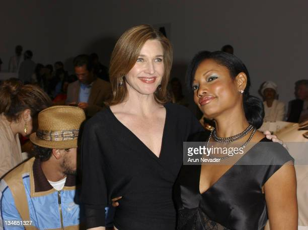 Brenda Strong and Garcelle Beauvais during MercedesBenz Fall 2005 LA Fashion Week at Smashbox Studios Kevan Hall Front Row at Smashbox Studios in...