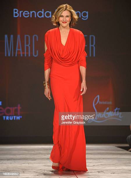 Brenda Strong wearing Marc Bouwer on the runway during The Heart Truth 2013 Fashion Show held at the Hammerstein Ballroom on February 6 2013 in New...